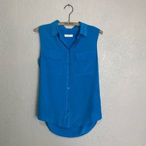 Equipment bright blue 100% silk sleeveless blouse